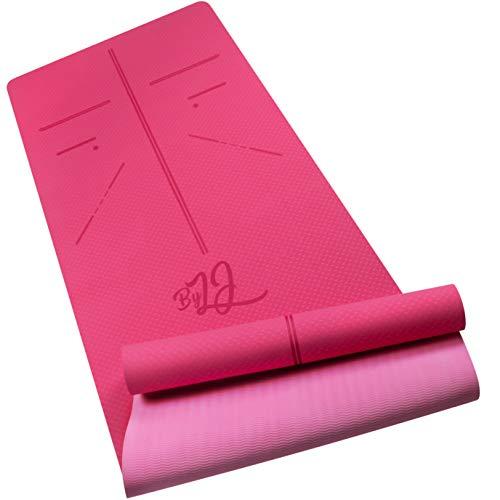 By LJ® Yoga Mat / Esterilla Gruesa de Materiales TPE (Materiales 100% Reciclables) + Bolsa de Transporte – Doble Superficie Antideslizante y Antitranspirante – Deporte / Fitness / Gimnasia / Pilates