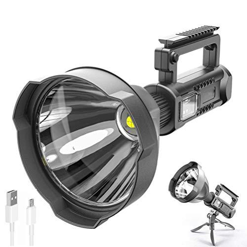 Gobbuy Linterna LED más Brillante, Recargable por USB, Linterna Extremadamente Brillante con trípode, para Senderismo, Camping, Caza