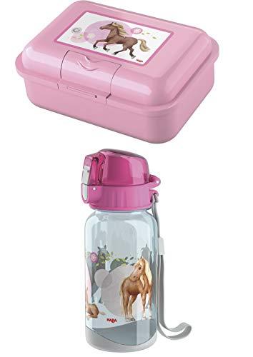Haba Trinkflasche 305705 und Brotdose 305704 im Set - Motiv Pferde