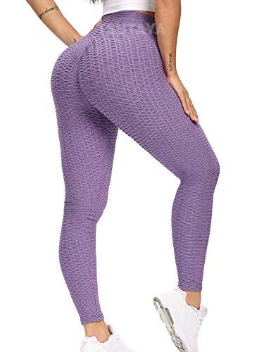 TSUTAYA Women's High Waisted Scrunch Butt Leggings Textured Tummy Control Sexy Gym Workout Yoga Pants Lavender, Size M