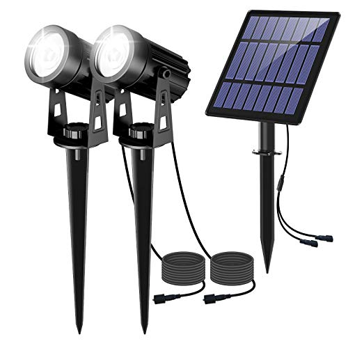 LED Solar Spotlight, 6000K White Light Outdoor Security Lights Garden Landscape Lamps, Waterproof IP65, Auto On/Off, Ground Light for Garden, Tree, Yard, Lawn, Fence, 2 Pack