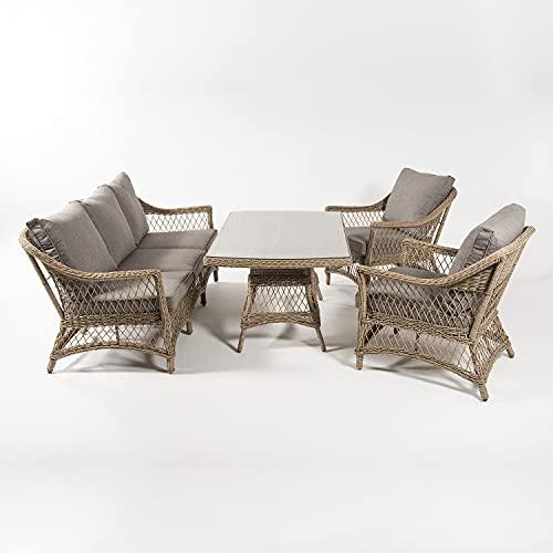 Conjunto sofás de jardín, Mesa Centro 140 cm, 2 butacas y 1 sofá 3 plazas, Color Natural, Aluminio y rattán sintético Abierto Redondo, 5 plazas
