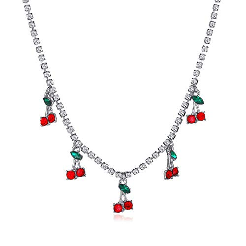 Rhinestone Cherry Pendant Necklaces Female Crystal Choker Jewelry (Silver)