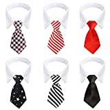 Segarty Dog Ties, 6pcs Pet Formal Classy Neckties 10.5-12 Inch, Tuxedo Bow Tie with Suit White Collar for Pup Cat, Birthday Gift, Grooming Accessories, Wedding, Business, Photo Session Wearing
