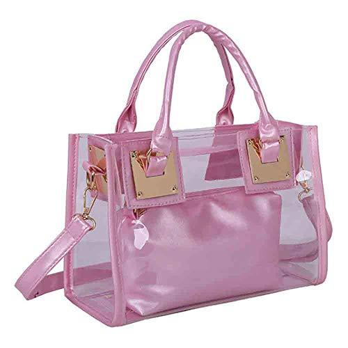 Rullar Damen 2 Stücke Kleine Klare Schultertasche Taschenset Umhängetasche PVC Transparent Shopper Handtasche Clutch Tasche Rose
