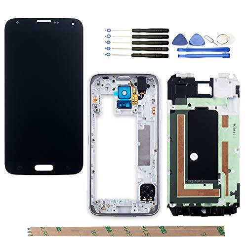 YHX-OU Für Samsung Galaxy S5 I9600 SM-G900 G900F LCD Display Touchscreen Ersatz Bildschirm mit Komplett Werkzeug (Nicht für G900H) (Schwarz+ Rahmen)