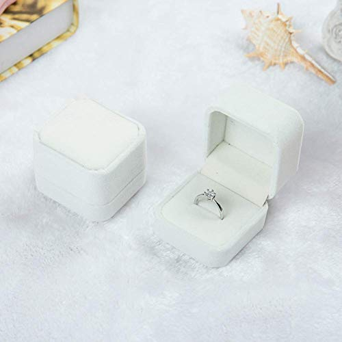 2 Pack Velvet Ring Boxes, Earring Pendant Jewelry Case, Ring Earrings Gift Boxes, Jewellry Display (Cream, Ring Box)