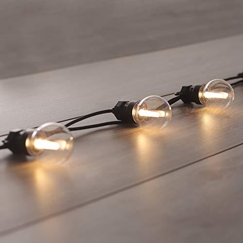 DecoKing Gartenlichterkette 10er LED strombetriebene Lichterkette Glühbirnen erweiternder Satz mit Connector statisch Innen und Außen Gartendeko
