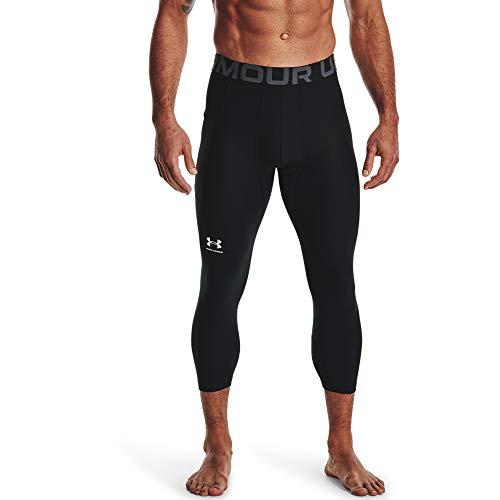 Under Armour UA HG Armour 3/4 Legging, komfortable und robuste 3/4 Sportleggings für Männer, leichte und elastische Trainingshose mit Kompressionspassform Herren, Black / White , M