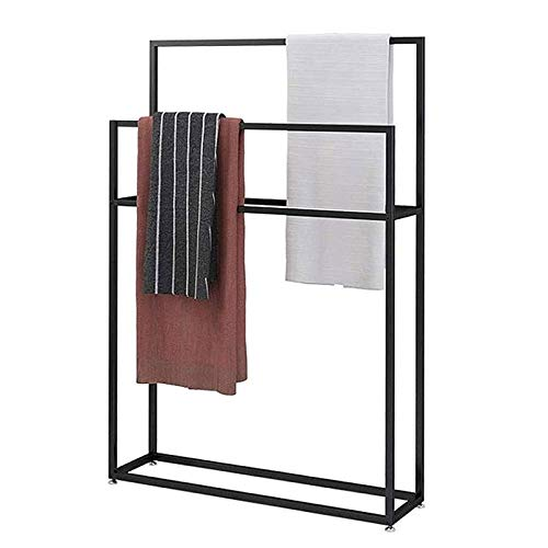 EEUK Toallero, aparcacoches, soporte de pie para toallas, 2 niveles para toallas de mano o toallas de baño, negro mate 65 x 20 x 110