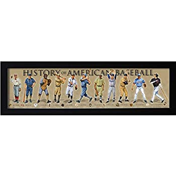History of American Baseball Framed Posters & Prints | Historical MLB Wall Art Gifts & Bedroom Decor Poster for Sports Enthusiast & Vintage Artwork Collectors | Iconic Timeline & Fan Print for Kids