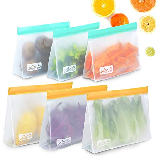 Viedouce Bolsas Reutilizables para Almacenamiento de Alimentos,Bolsas Congelar Reutilizables,Bolsas de Bocadillos Ziplock,Bolsas Reutilizables para Fruta Sándwiches Verduras,Sin BPA