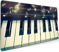音符とピアノのキーボードをクローズアップ 大型ゲーミングマウスパッド光学式マウス対応滑り止め防水耐久性 キーボードパッド オフィス 900 X 400
