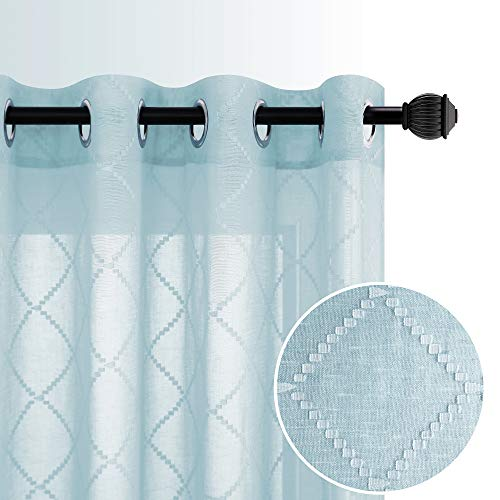 Gardinen in geometrischer Leinenoptik, halbtransparent, Voile, mit Ösen, für Wohnzimmer, Esszimmer, Schlafzimmer, 132 x 160 cm, 2 Stück