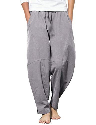 COOFANDY Men Linen Capri Pants Expandable Waist Wide Leg Sweat Lounge Trousers