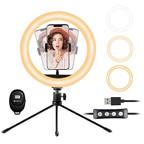 LED Selfie Ringlicht mit Stativ Handy: Geekoto 10