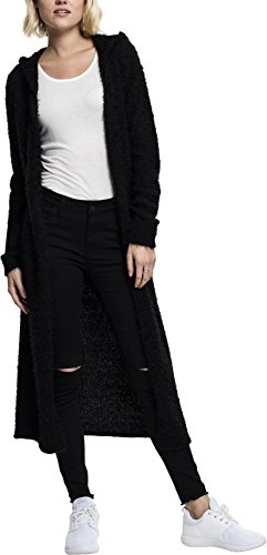 Urban Classics TB1750 Damen Strickjacke Ladies Hooded Feather Cardigan Schwarz (Black 7), Large
