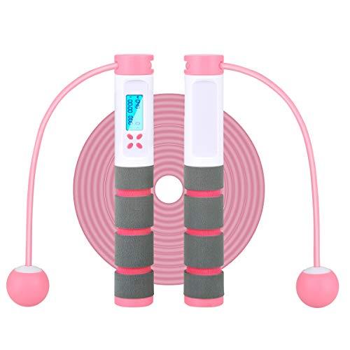 Esenlong Cuerda de saltar con contador digital para ejercicio, fitness, deporte, con ajuste de peso, contador de calorías, para adultos y niños