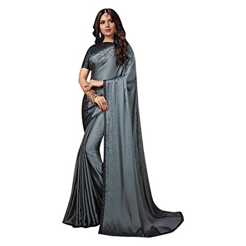 ETHNIC EMPORIUM Dames Grijs Noble Satin Swarovski Stone Werk Saree Mooie Blouse Sari Indiase Mode-Vrouwen Party formele 8112 6,25 m zoals getoond