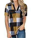 YOINS - Camisa de manga larga para mujer, con cuello de pico