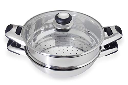 Pristine Stainless Steel Induction Base Wok, Multi Purpose Kadai and Steamer, 22cm, with Glass Lid