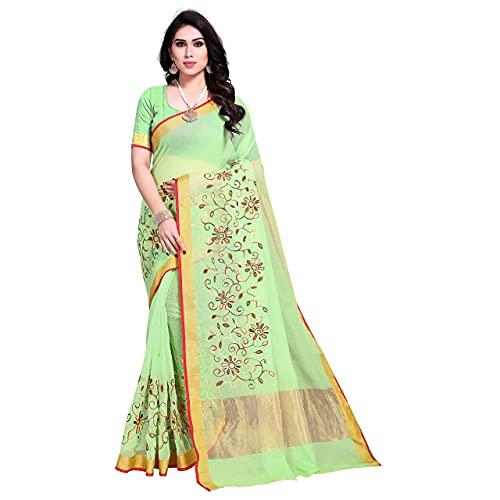 Sidhidata Textile Women's Kota Doria Cotton Embroidered Saree With Unstitched Blouse Piece