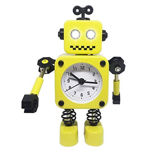 Diskary Roboter Wecker,Nicht tickende Wecker mit blinkenden Augen Lichtern und drehbarem Arm,Geschenk an Kinder (Gelb)
