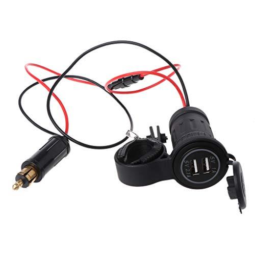 GLASSNOBLE Cable de Datos, 2.1A, Doble USB, Manillar de Motocicleta, mechero, Enchufe para Hella/DIN, Cargador de Motocicleta, luz LED, Adaptador de Toma de Corriente, Negro
