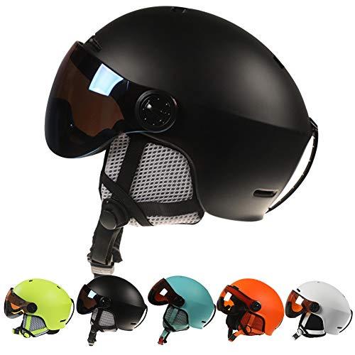 Skihelm Ski Helm,Skihelme mit Visier für Damen Herren,Ski Helm mit Skibrille Männer Frauen ASTM-zertifizierter Sicherheit,Snowboardhelm Verstellbare Größe Ski Helmet Men,Snowboard Helm,Schwarz,M