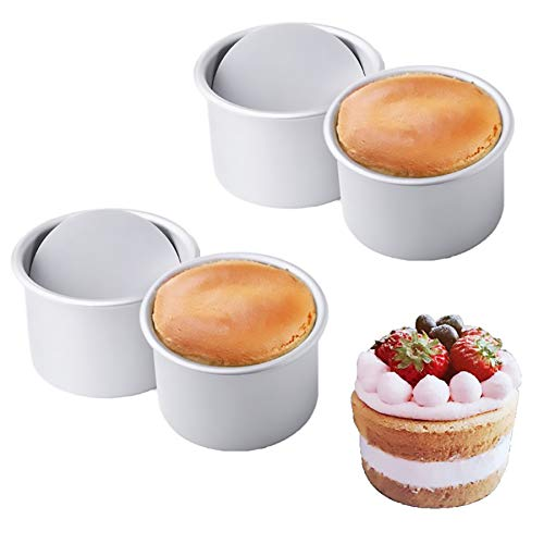 Cocaburra 6 Inch Cake Pan, Removable Bottom Round Cake Pan Cake Mold for Baking Nonstick Mini Cake Pan 3-Inch Deep Chiffon Cake Pan Aluminum Pound Cake Pan Single Pack