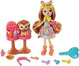 Enchantimals Lacey Lion y Salón de Belleza Muñeca con mascota, set de juego y accesorios, juguete +4 años (Mattel GTM29)