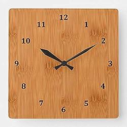 TattyaKoushi 15 by 15-inch Wall Clock, Bamboo Toast Wood Grain Look Square Wall Clock, Living Room Clock, Home Decor Clock