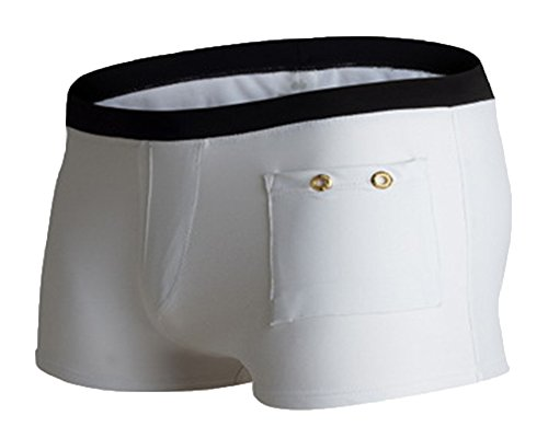AnyuA Hombre Leuchtend Kordelzug Boxershorts Schwimmhose Mit Tasche Weiß XL