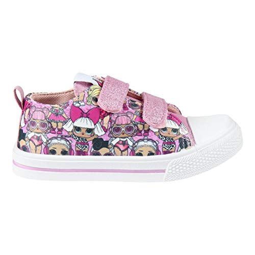 Cerdá L O L Surprise! | Mädchen Schuhe Sneaker Turnschuhe | Leichtes Design | Schule | Lässig | Smart | Kindermode Funkeln 3D | Klettverschluss | Reißverschluss | (Rosa Puppen Low-Tops, Numeric_35)