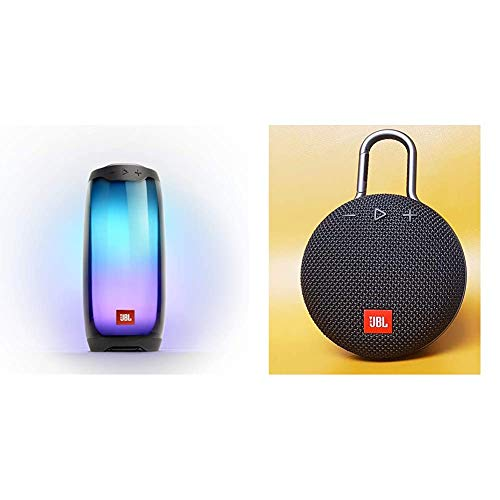 JBL Pulse 4 - Waterproof Portable Bluetooth Speaker with Light Show - Black & Clip 3 - Waterproof Portable Bluetooth Speaker - Black