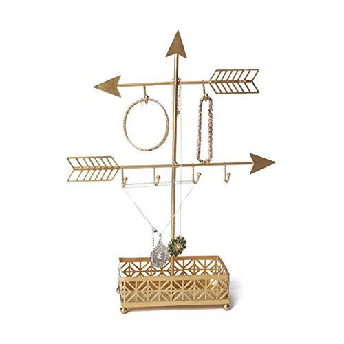 Estante de joyería en Forma de Flecha Estante de exhibición Colgante de joyería de Doble Capa Simple de Moda, Estante de joyería Decorativo para artesanías de Metal, Collares, aretes