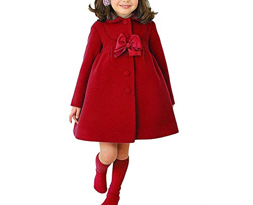 HBDesign Cute Imitation Wool Bowknot Girl Overcoat Dress Coat Outer Wear Winter Red Size 8