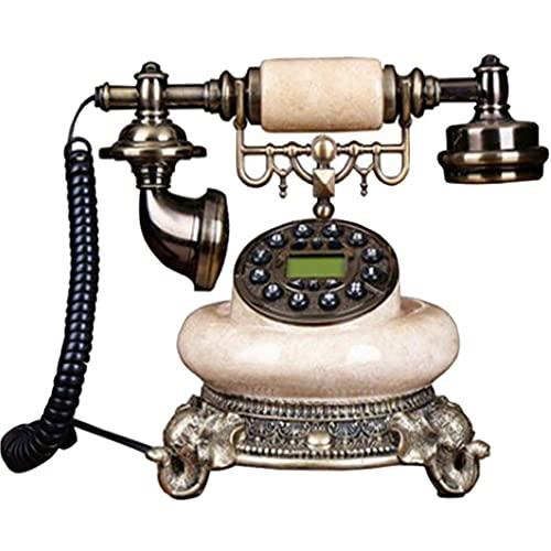 FHISD Teléfono Retro Giratorio Retro Teléfono Antiguo Botón Dial Oficina en casa Teléfono Fijo de línea Fija