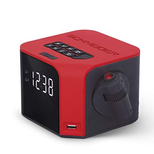 Schneider Consumer SC360ACLRED Radiowecker mit Projektion der Uhrzeit, digitaler FM-Tuner, Dual-Alarm, LCD-Display, USB zum Laden von Geräten, Rot