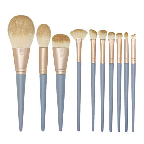 Timagebreze Juego de Pinceles de Maquillaje Profesional de 10 Piezas Manejar Madera Azul Base de Sombra Ojos Delineador de Ojos Pincel de Mezcla Herramientas de Maquillaje de Mujeres Sin Bolsa