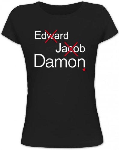 Shirtstreet24, Vampire Damon, Vampir Vampire Lady/Girlie Funshirt Fun T-Shirt, Größe: S,schwarz