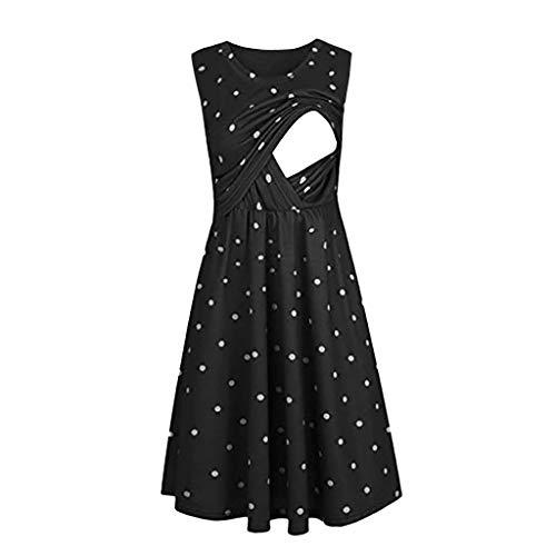 Lurcardo Stillkeid Umstandskleid Ärmellos Streifen Stillkleid Schwangerschafts Kleid Mode Rundhals Still-Nachthemd Stillen Kleid Umstandsmode Frauen Damen Kleid Sommer Damen Kleider Nachthemd Kleider