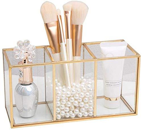 ZLYY Kosmetik Organizer Glas Gold Schminkpinsel Aufbewahrung Gold Aufbewahrungsbox Mit 3 Fächern Für Schminktisch Badezimmer Make-up-Pinsel