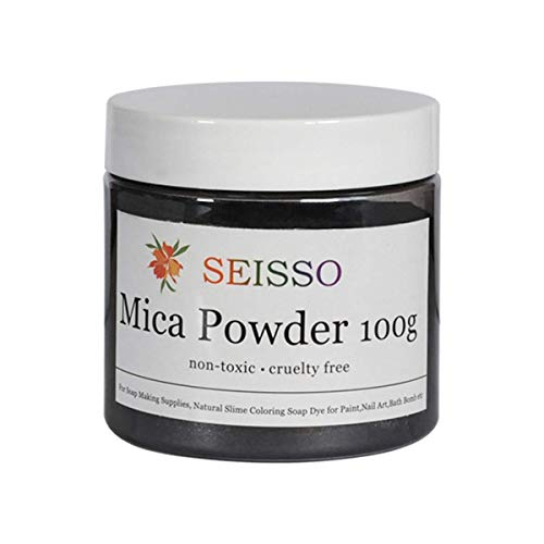 Pigmentos para Resina Epoxi SEISSO 100g Pigmentos en Polvo,Mica en Polvos Para Hacer Slime,Jabon,Pintauñas,Sombra de Ojos,etc (Plata-Negro)