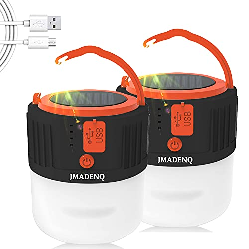 LED Camping Lantern, Tent Heater for Camping, Portable, 5 Light Modes, Hurricane Preparedness Items, Suitable Survival Kits During Hurricane, Emergency, Storms, Solar Powered (Black 2 Pack)