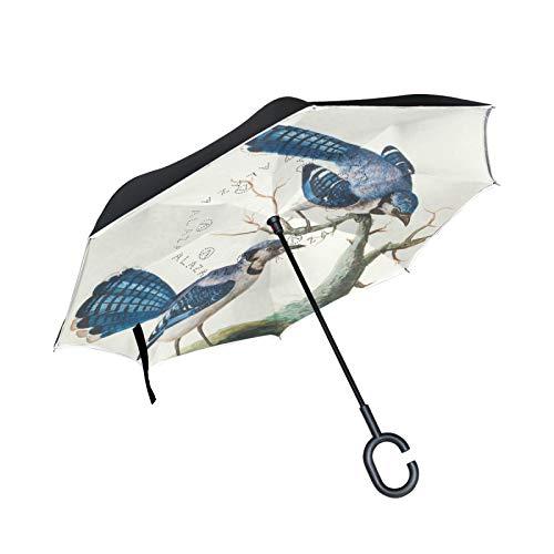 Paraguas invertido negro dorado crisantemo doble capa, con mango en forma de C, plegable, resistente al viento, paraguas grande de pie para uso al aire libre