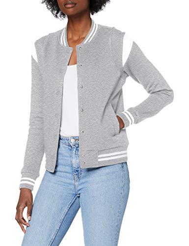 Urban Classics Dames Dames Dames Organic Inset College Sweat Jacket Jassen, grijs/wit, 5XL Grote maten