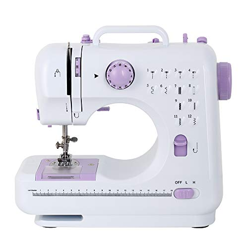 Portable Sewing Machine Mini Electric Household Crafting Mending Sewing Machines Multi-Purpose 12 Built-in Stitches with Foot Pedal for Home Sewing, Beginners, Kids (Purple)