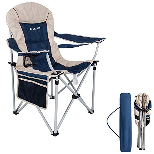 FUNDANGO Lumbar Support Strong Stable Heavy Duty Folding Deluxe Camping Chair, One Size