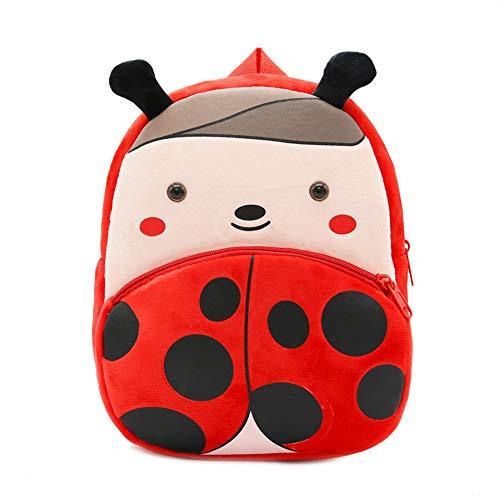 Haioo Mochila Infantil para Niños con Figuras de Animales Bonitos Mochilas Escolares para Niños 2-4 Años (Mariquita)